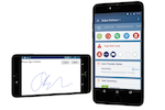 AlayaCare screenshot: Mobile care worker functionalities with mobile signature capture