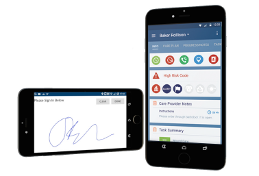 Mobile care worker functionalities with mobile signature capture