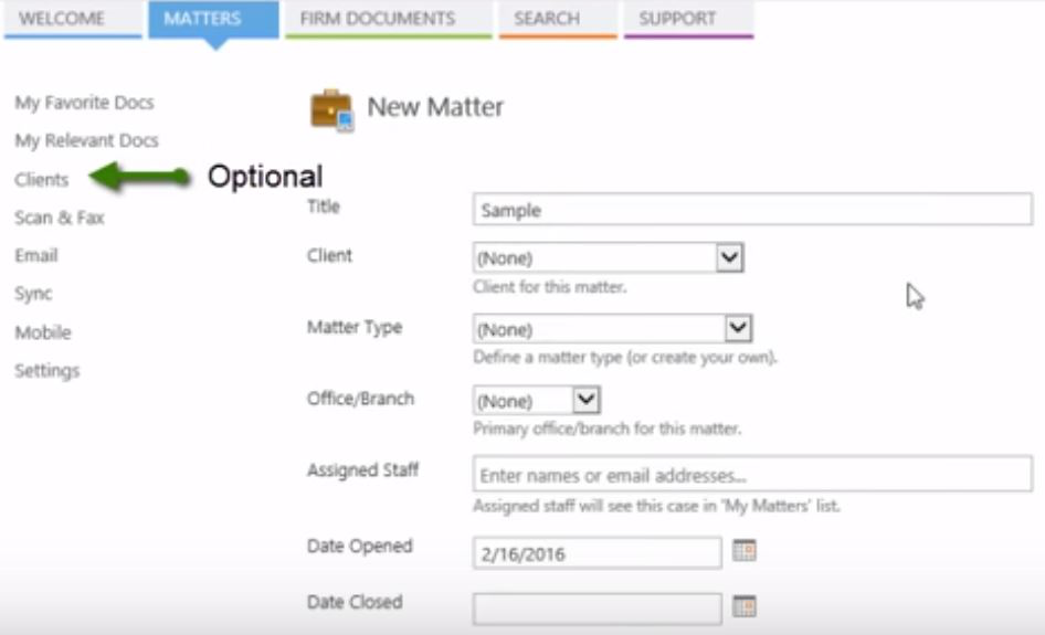Create a New Matter in LegalWorks, with the option of adding the client name