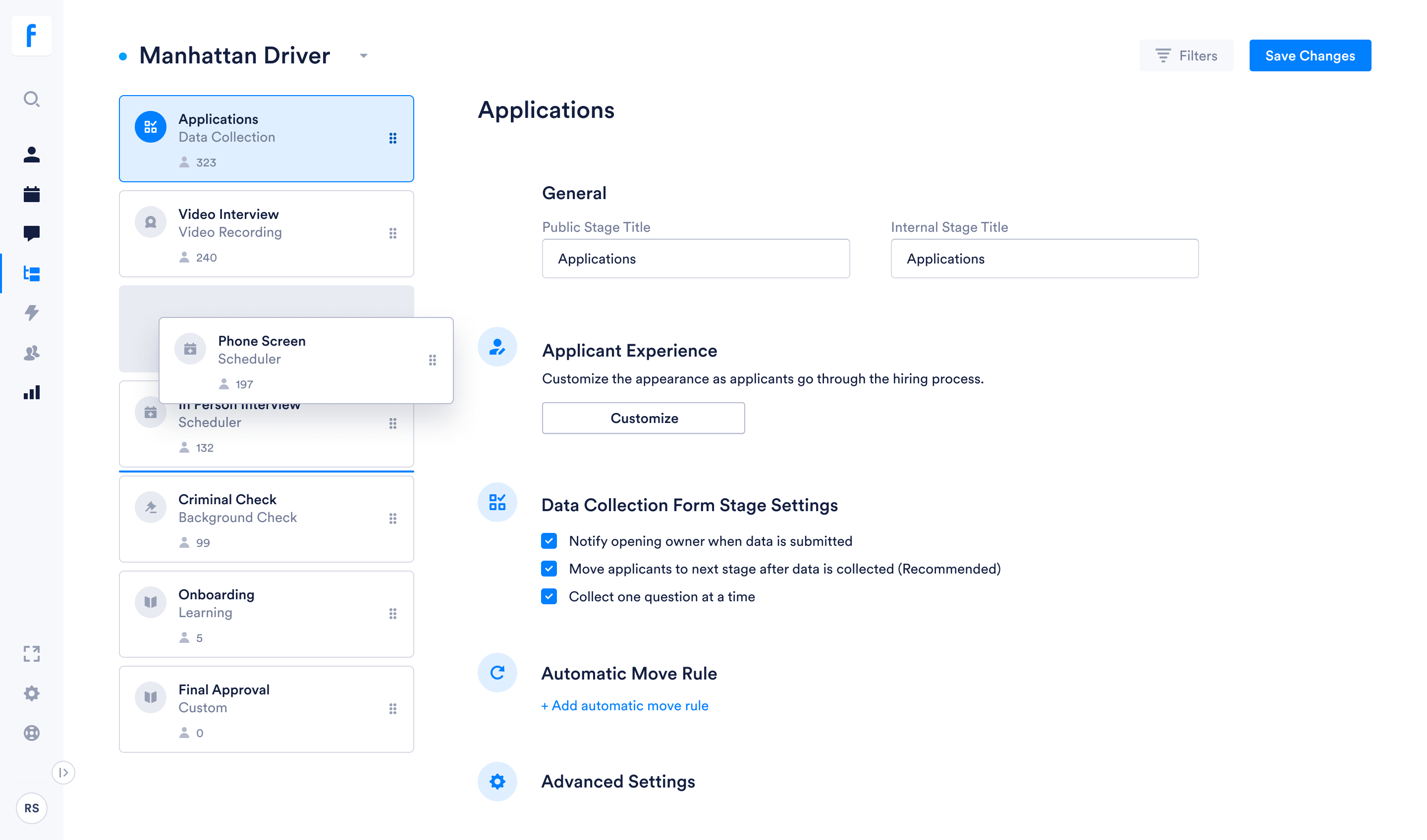 Arrange dashboard and workflows in a way that works for you.
