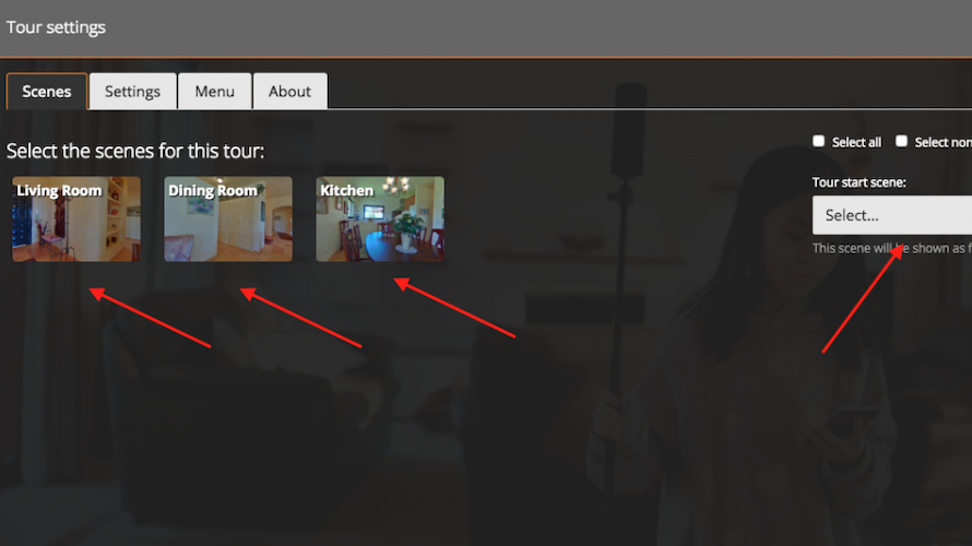 My360 tour scene settings screenshot