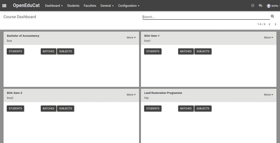 OpenEduCat course dashboard