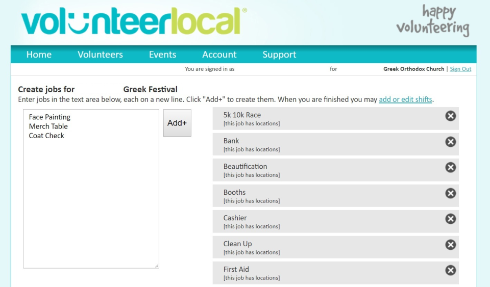 VolunteerLocal Software - Create volunteer jobs