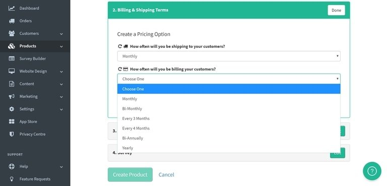 Subbly billing and shipping terms