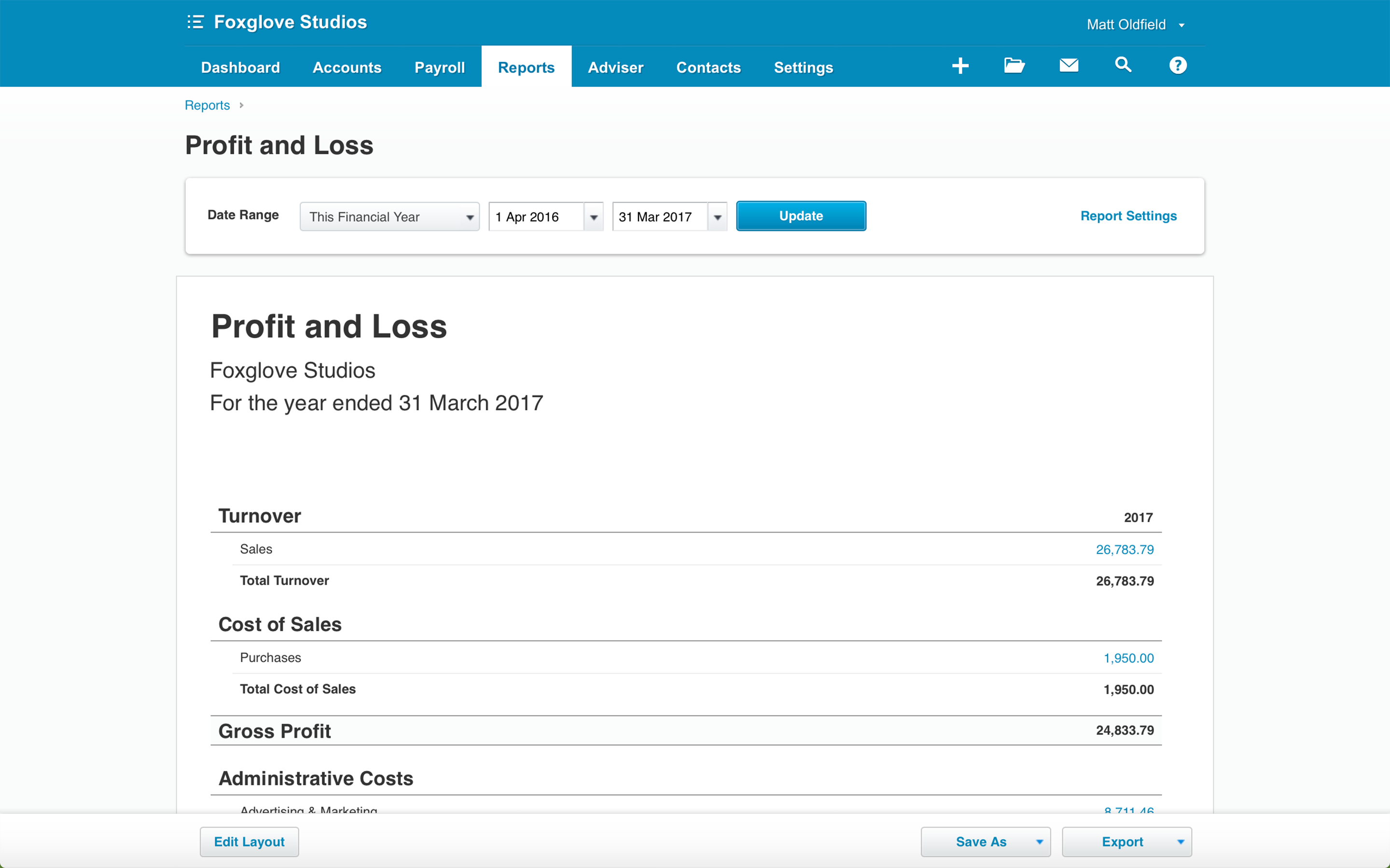 Xero Profit and Loss Reports