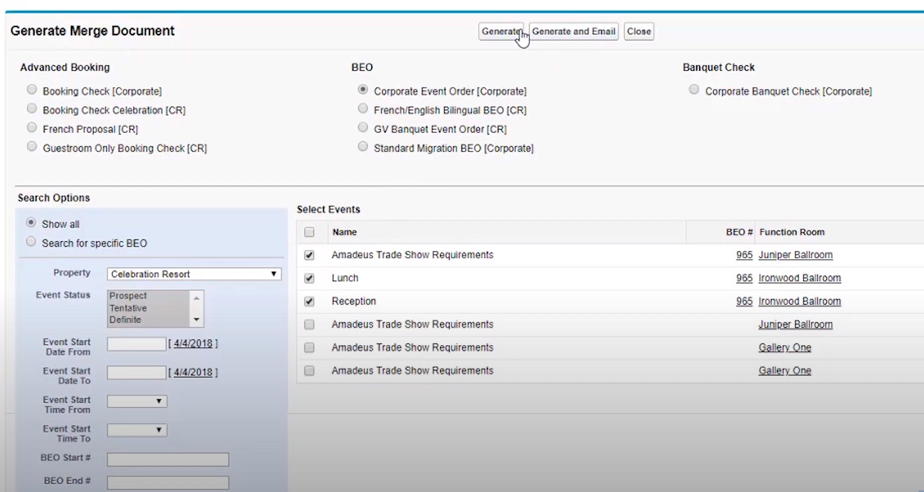 Amadeus Sales & Event Management generate merge document