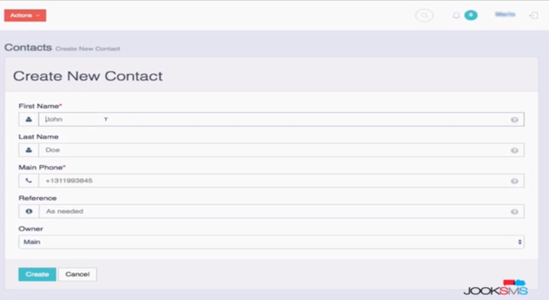 JookSMS create new contact screenshot