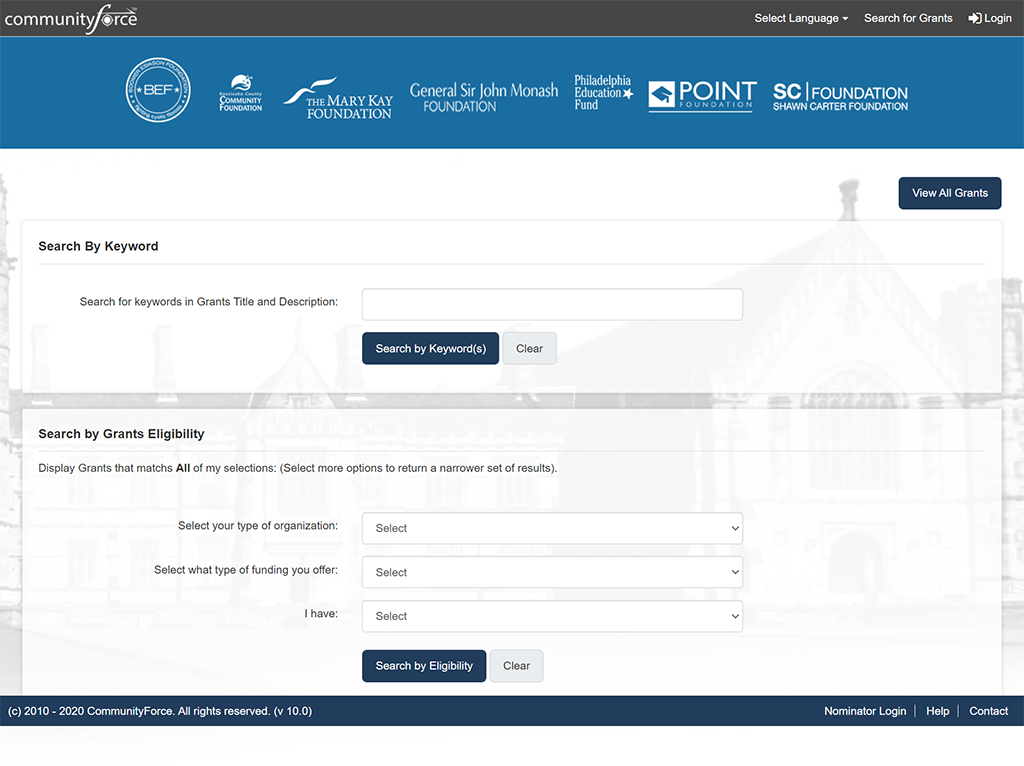 Search Page  Applicants are able to search by keyword or by customized drop-down questions