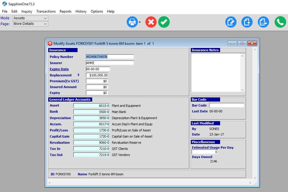 SapphireOne Software - Asset inquiry details