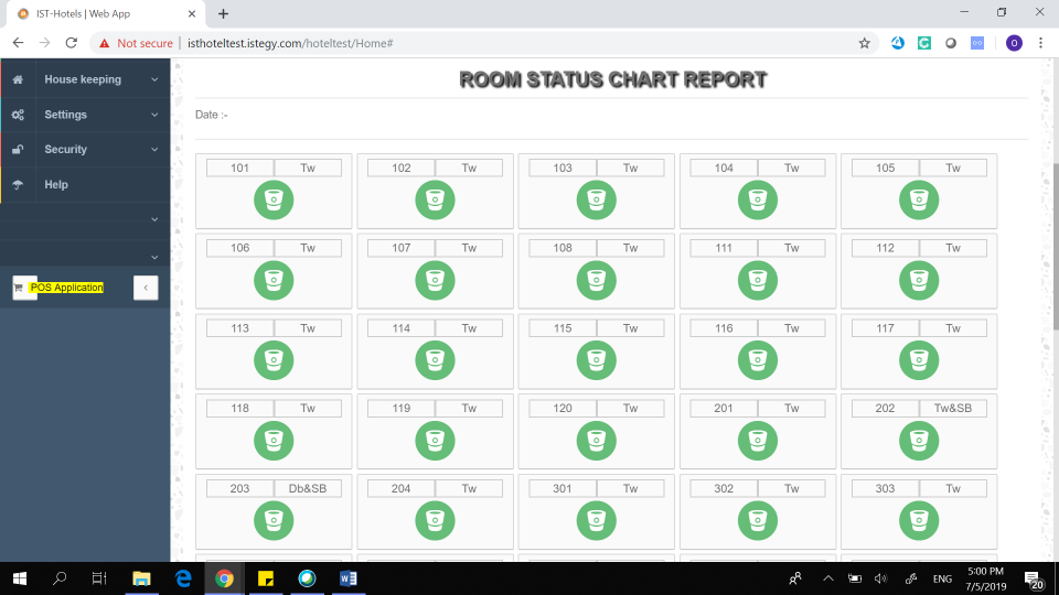 CloudWadi Hotel Management Software rooms status chart screenshot