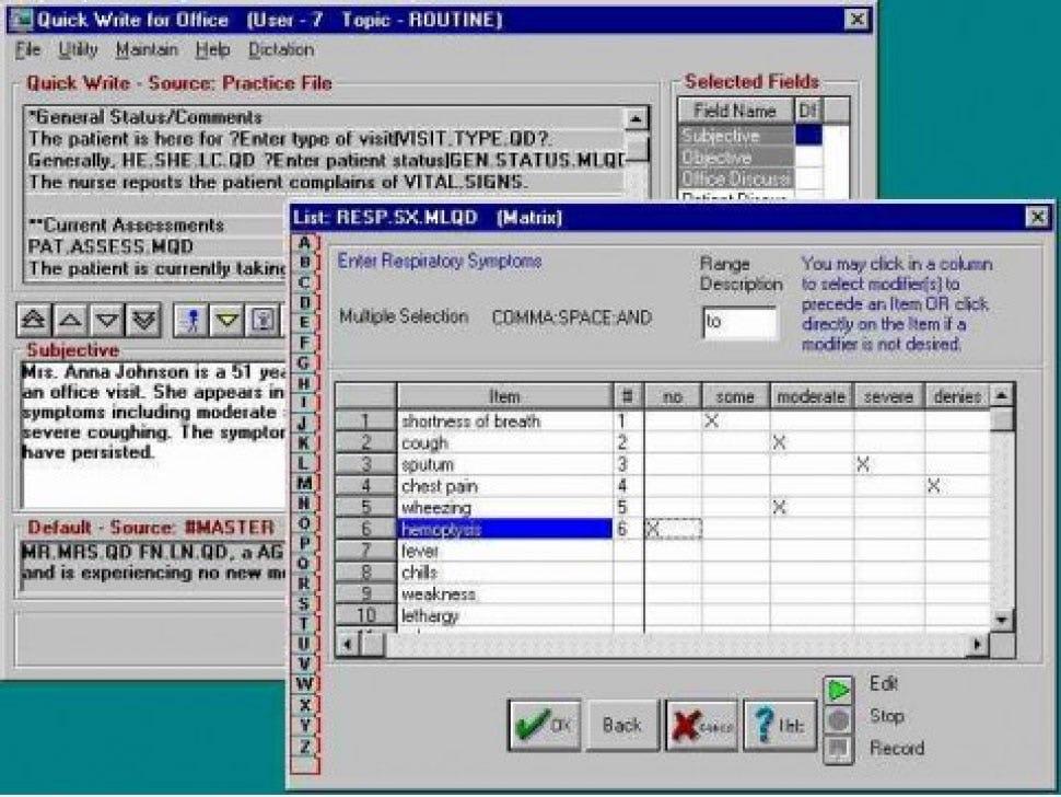 Q.D. Clinical Software - Symptoms