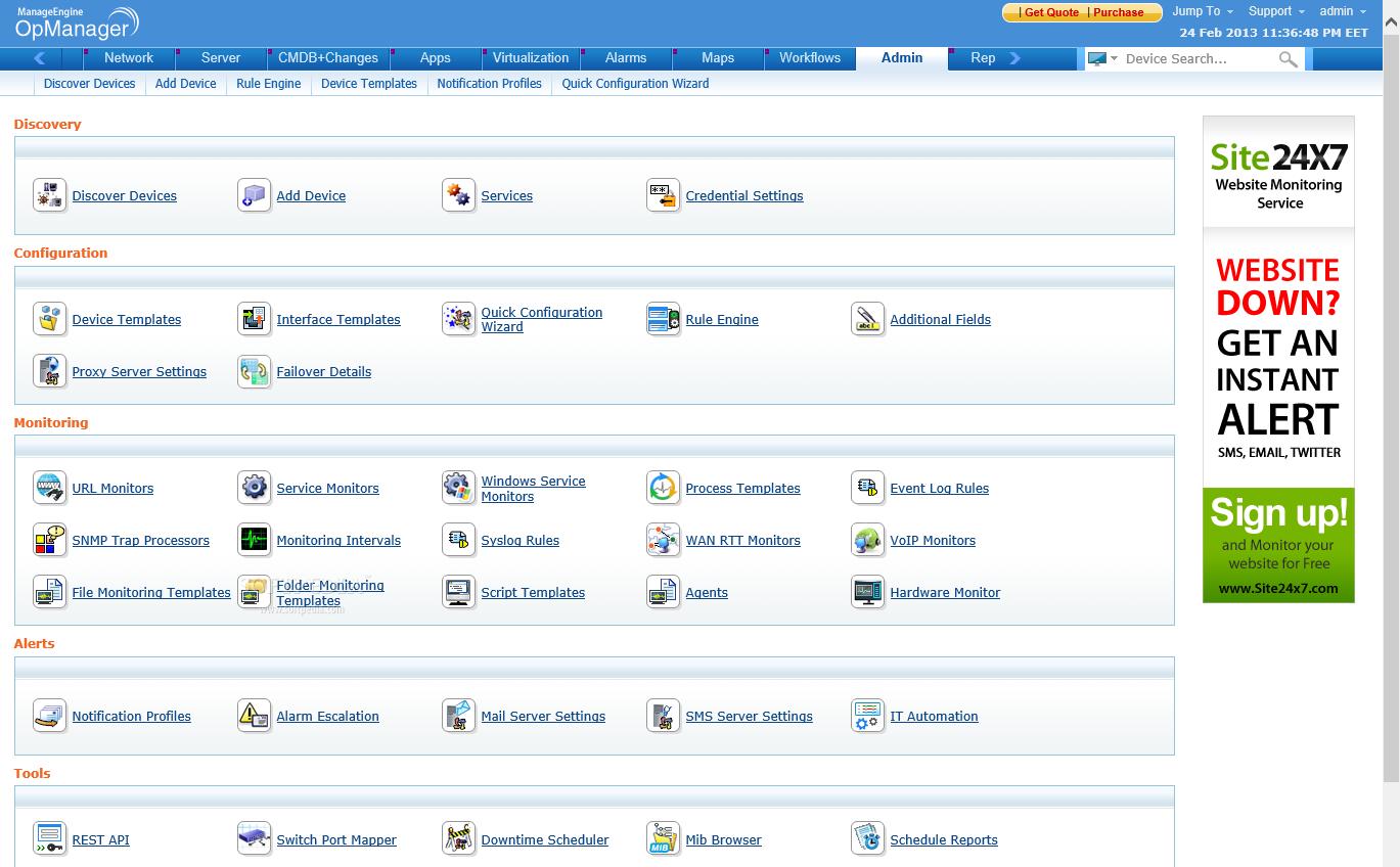 ManageEngine OpManager Software - Admin