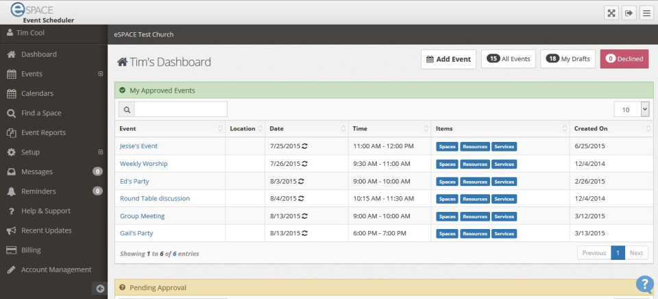 eSpace event scheduling module with event dashboard view