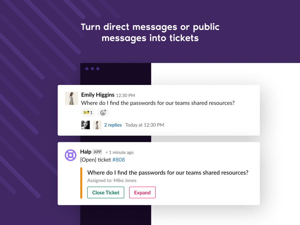 Turn messages into ticket