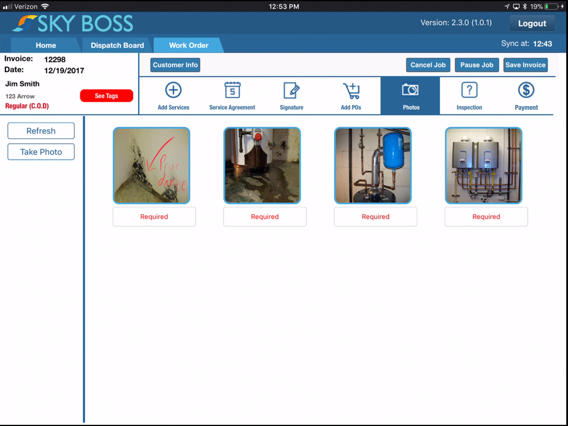 The system provides the option for taking or uploading photos that can then be attached to work orders and invoices