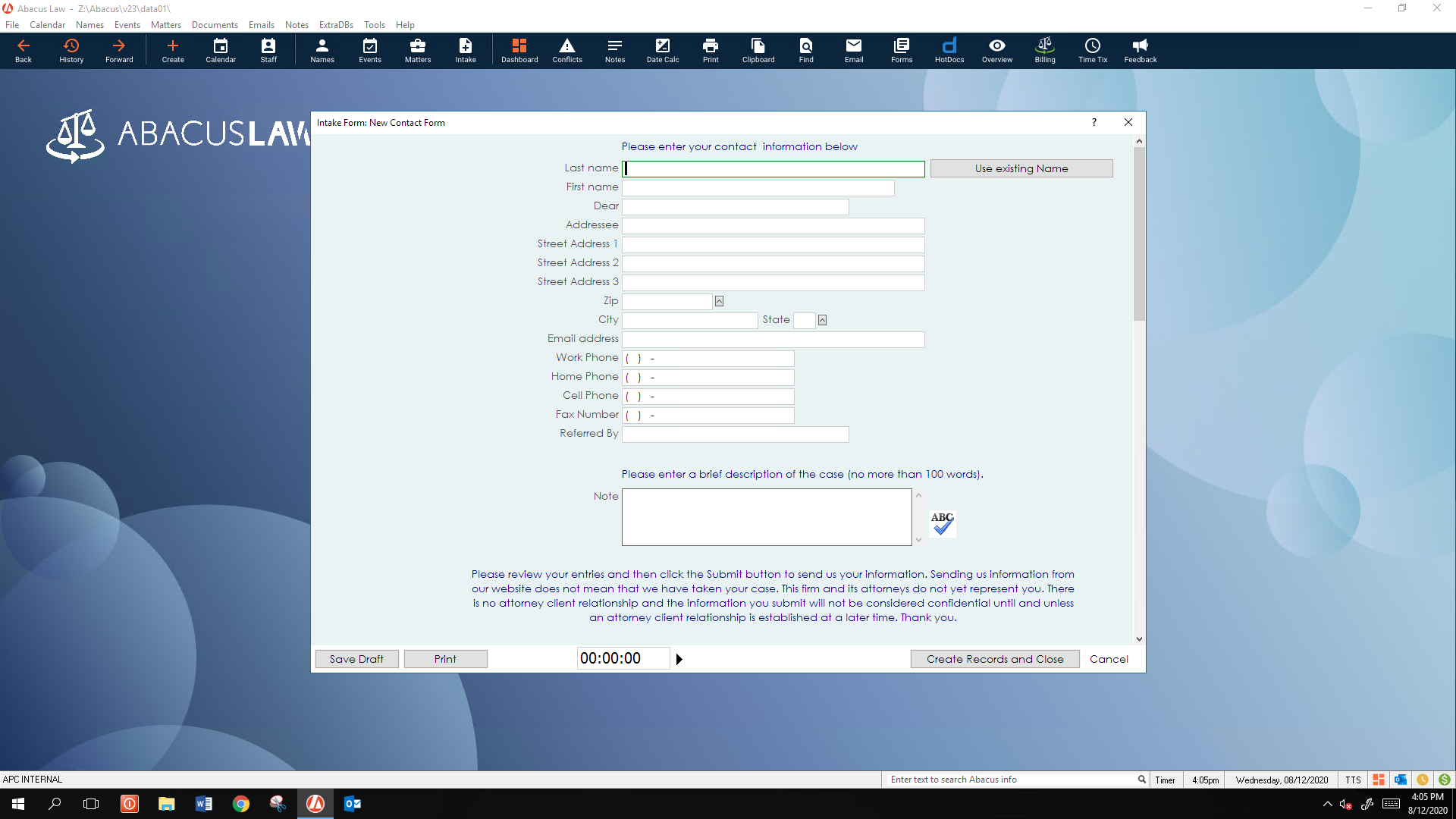 AbacusLaw Software - Client Intake