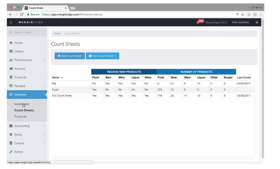 MarginEdge inventory tracking screenshot