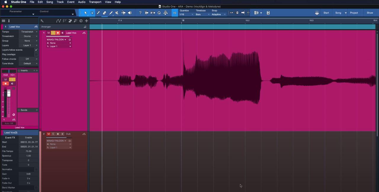 Studio One arrange audio