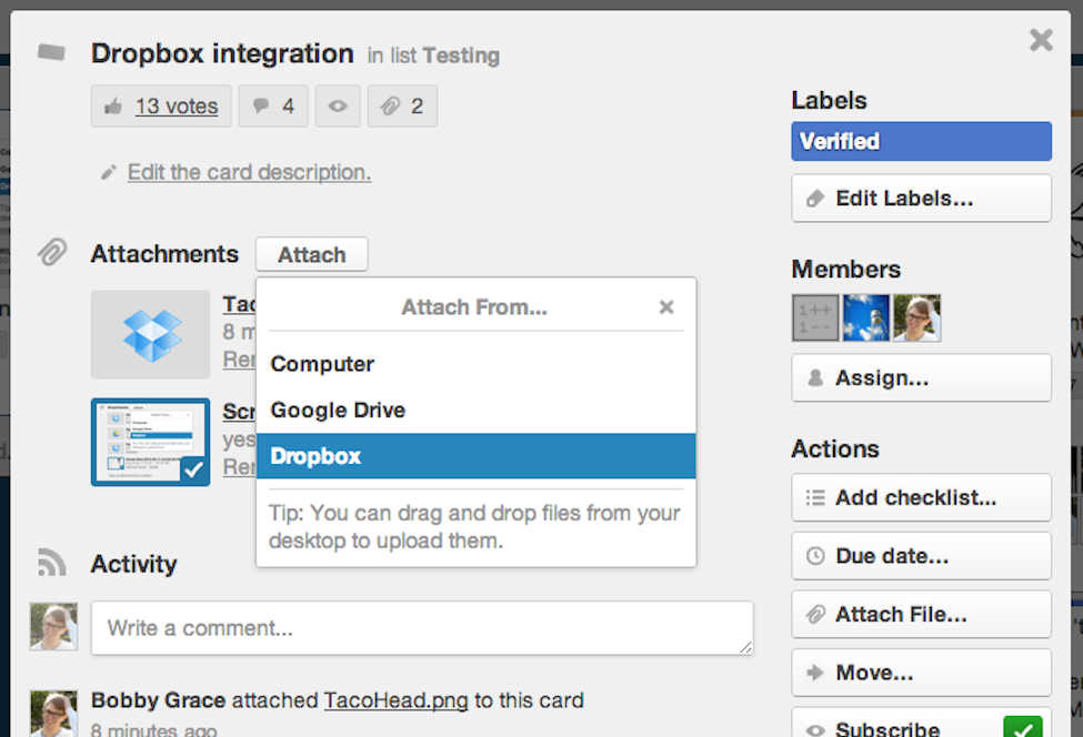 Trello file-sharing with Dropbox