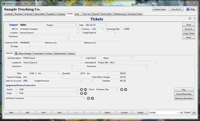 Generate tickets with Axon Trucking Software