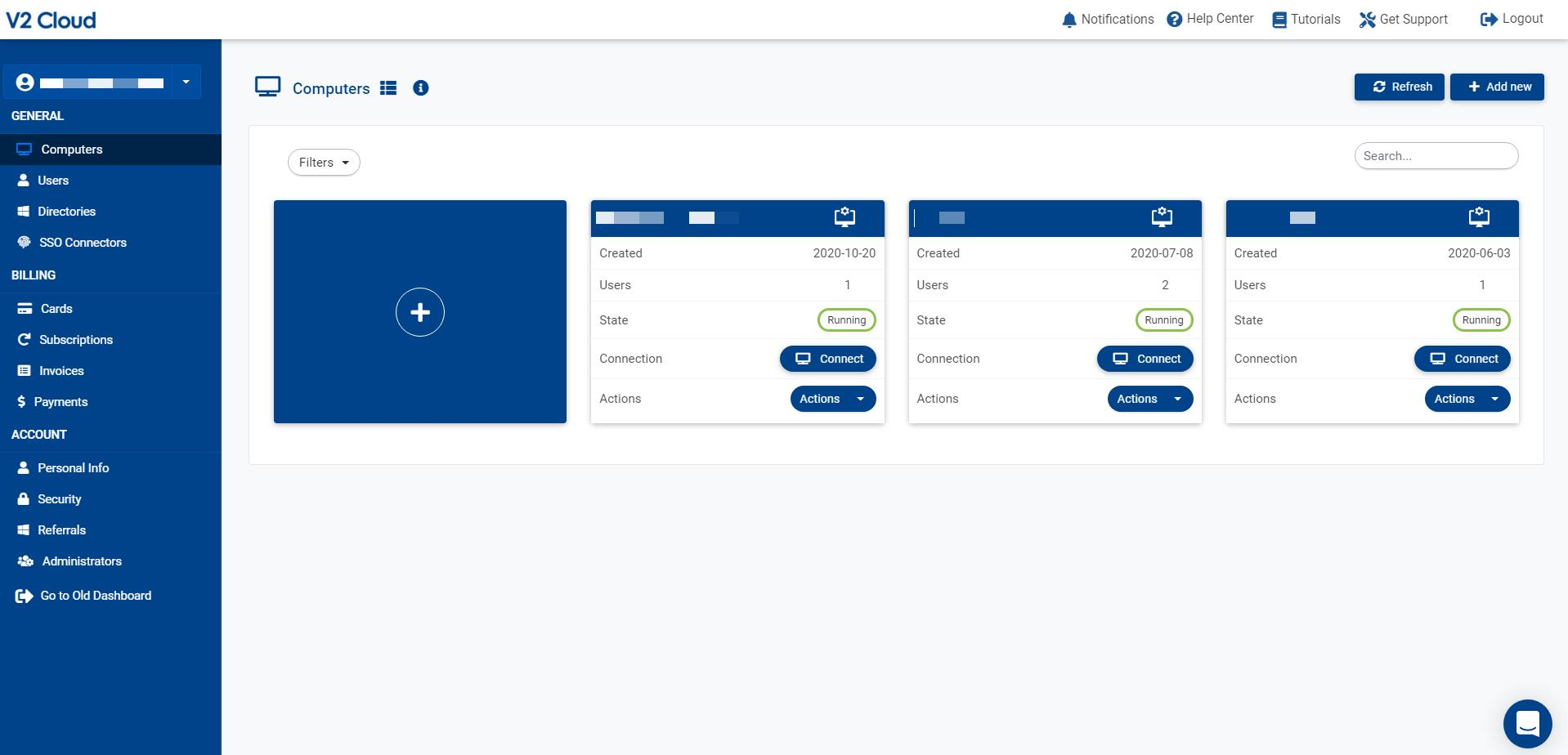 This is where you managed your cloud computers, billing, cybersecurity & administrators. The dashboard enables you to oversee your cloud infrastructure.
