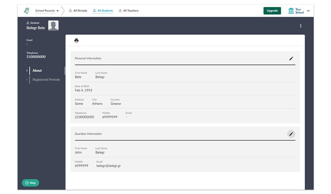 DreamClass student profiles