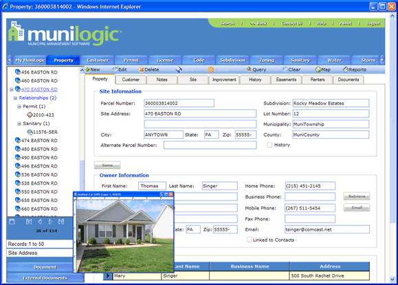MuniLogic property management view with the details of property ownerhip & transfer history