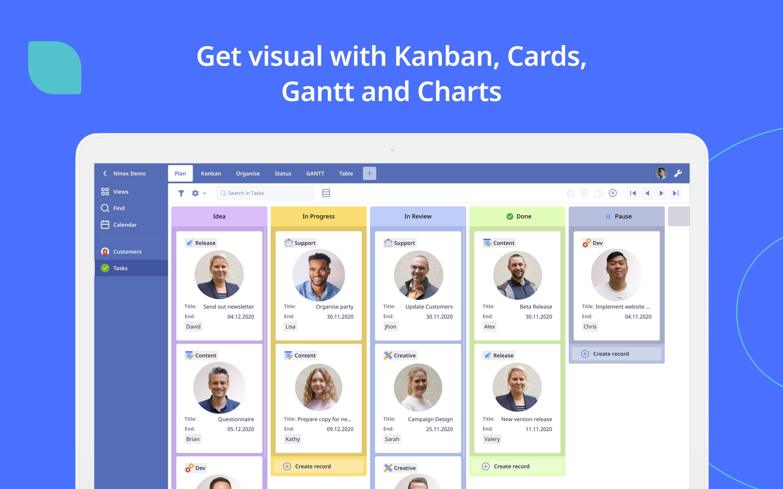 Get visual with Kanban, Cards, Gantt and Charts