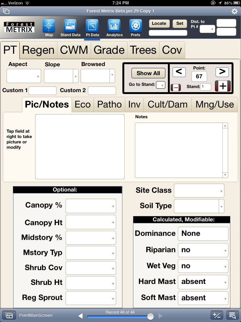 Forest Metrix allows usres to take pictures or add notes to manage tree inventory