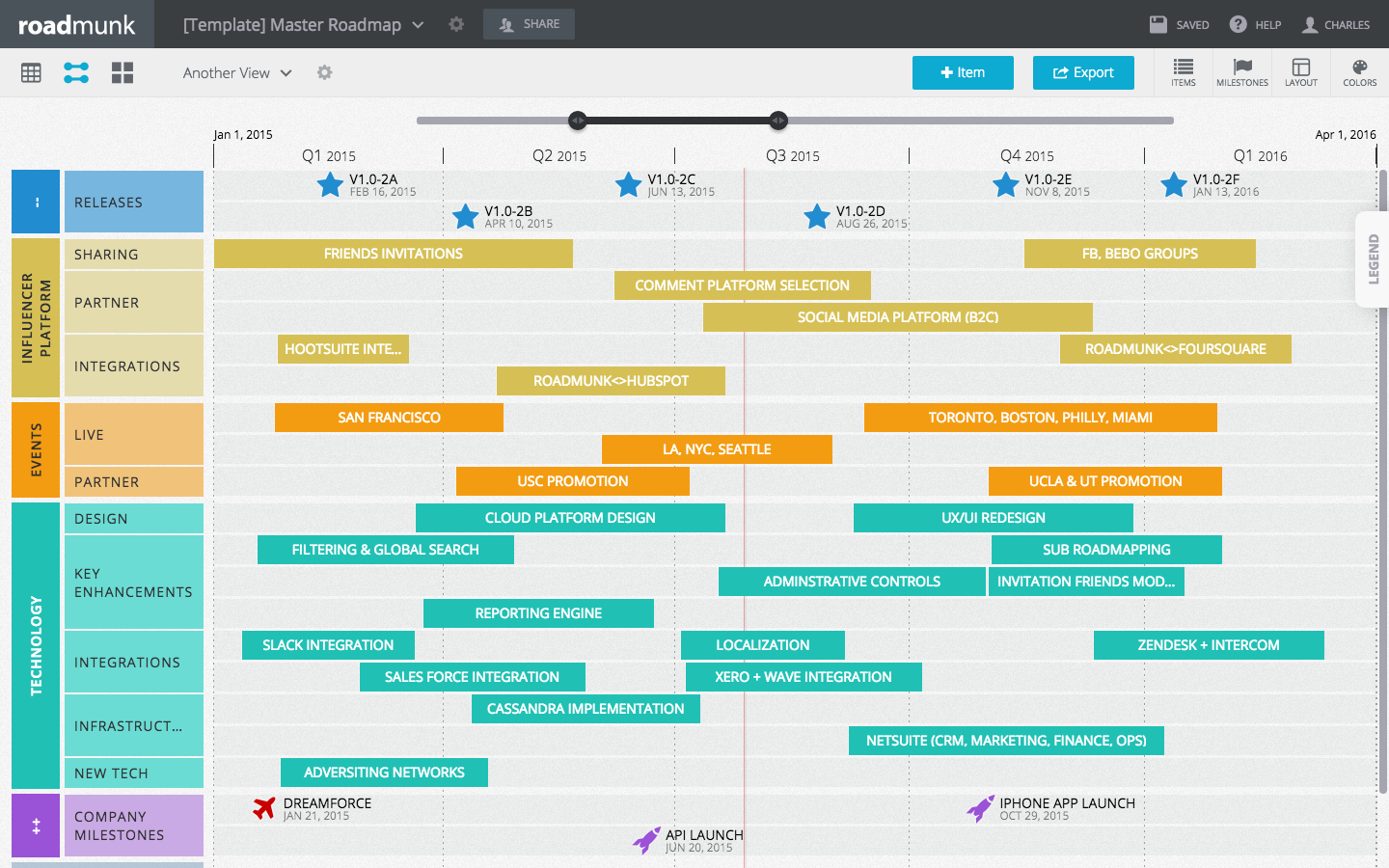 Set up a color scheme in the Timeline view for different roadmaps