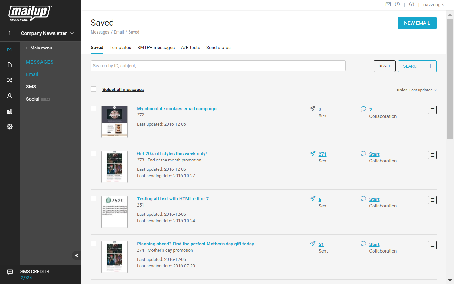 Saved messages, from here users can edit, test, check-up or send campaigns.
