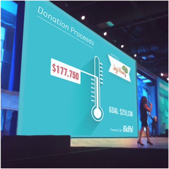Display current donation status on a live scoreboard at an event of virtually online.