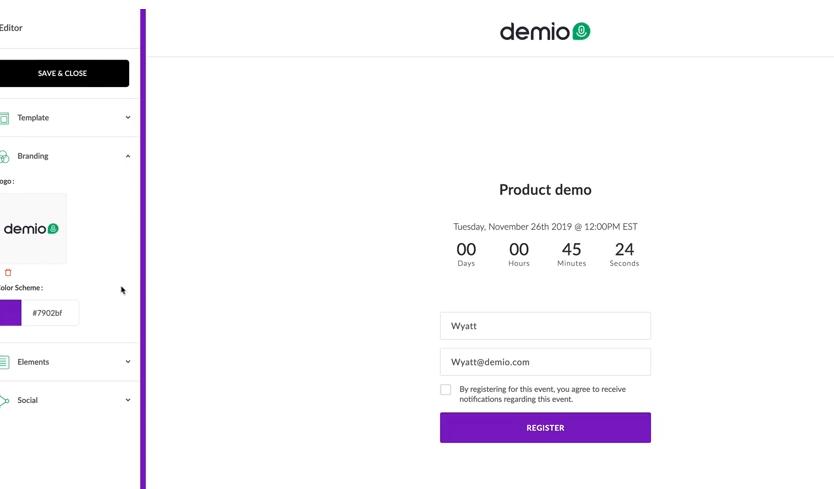 Demio customizable branding