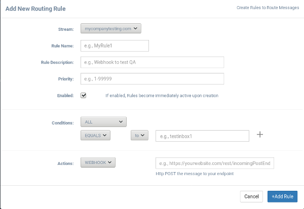 Mailinator routing rule