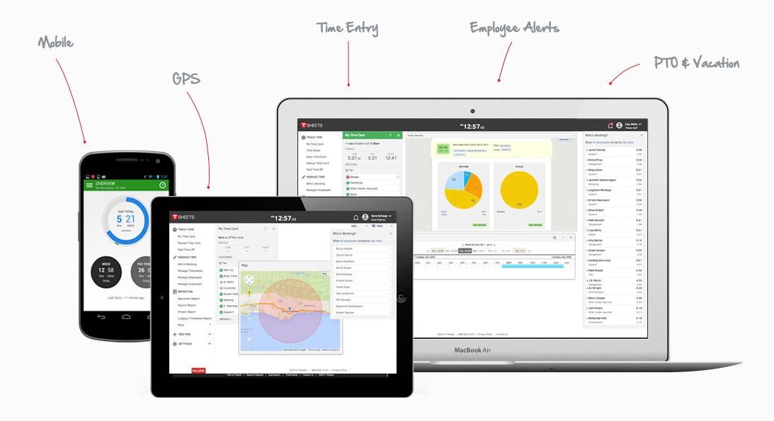 QuickBooks Time screenshot: Access TSheets on laptop, tablet and mobile