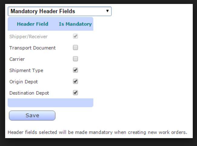 Set mandatory fields