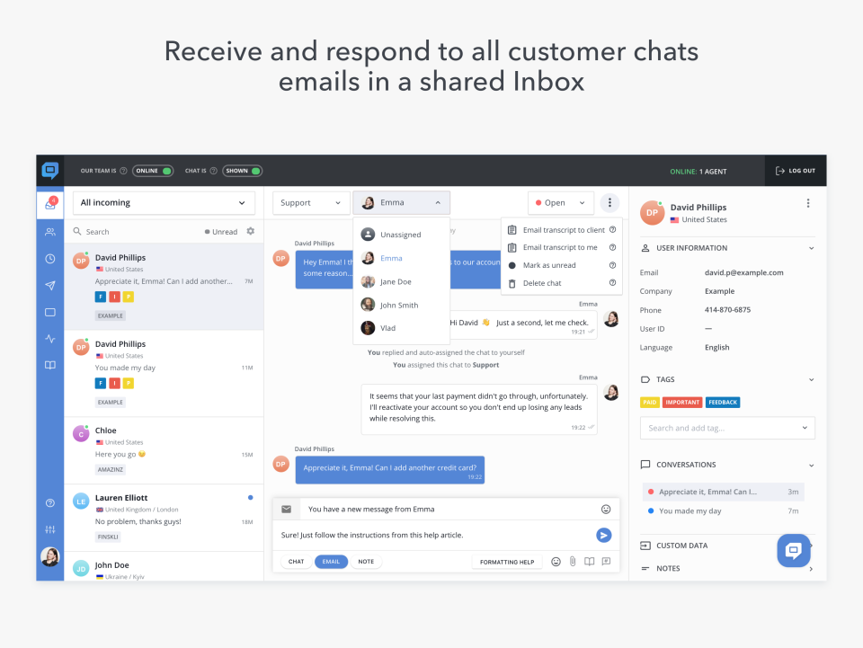HelpCrunch Software - Team Inbox