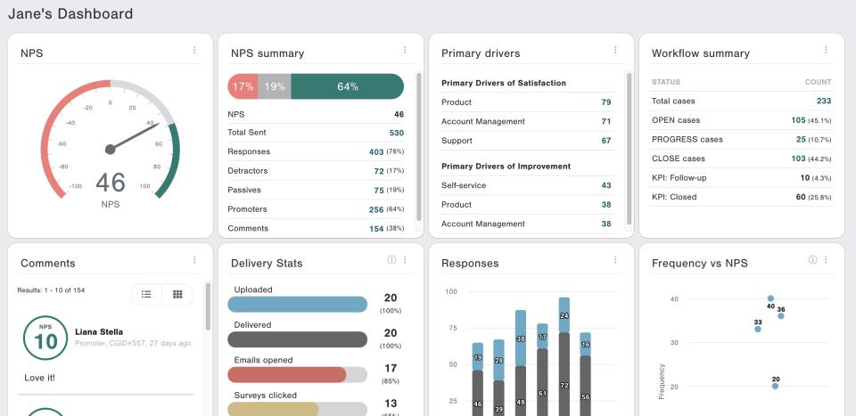 CustomerGauge dashboard overview