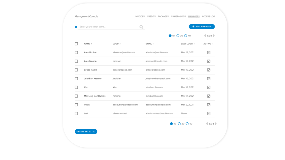 Ozolio Software - Ozolio access management