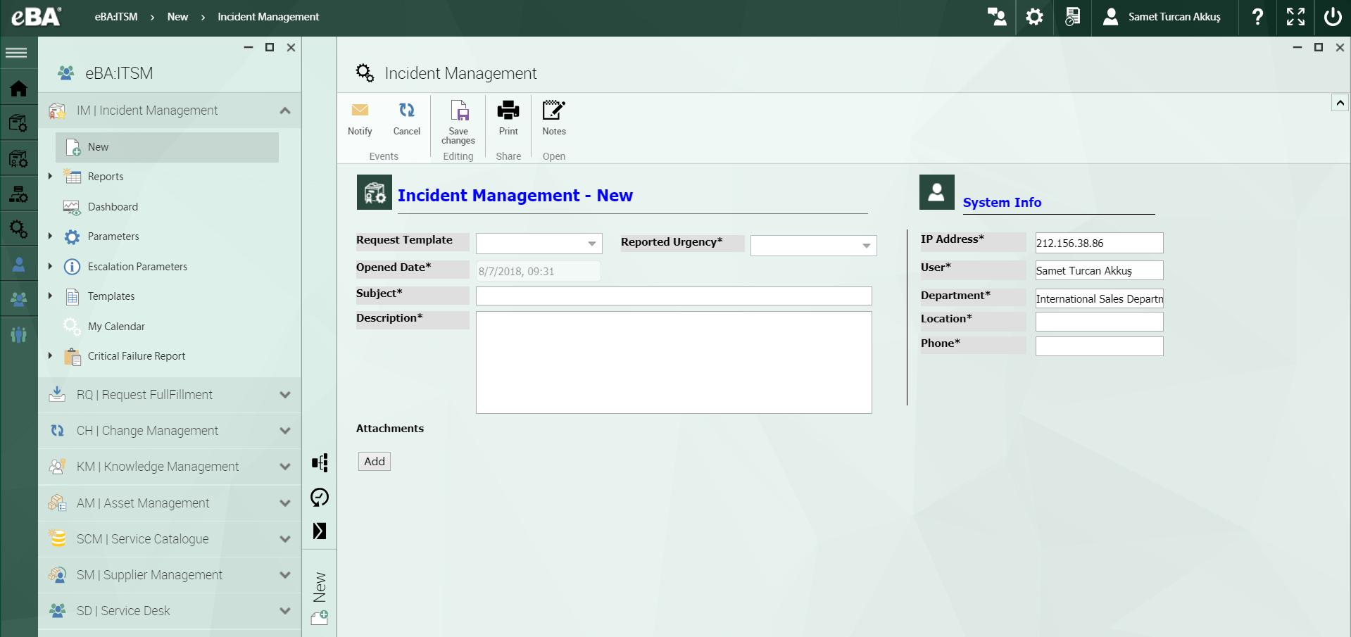 eBA ITSM Software - Incident management