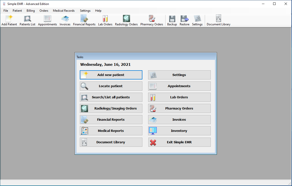 Main Screen with all main functions of the program