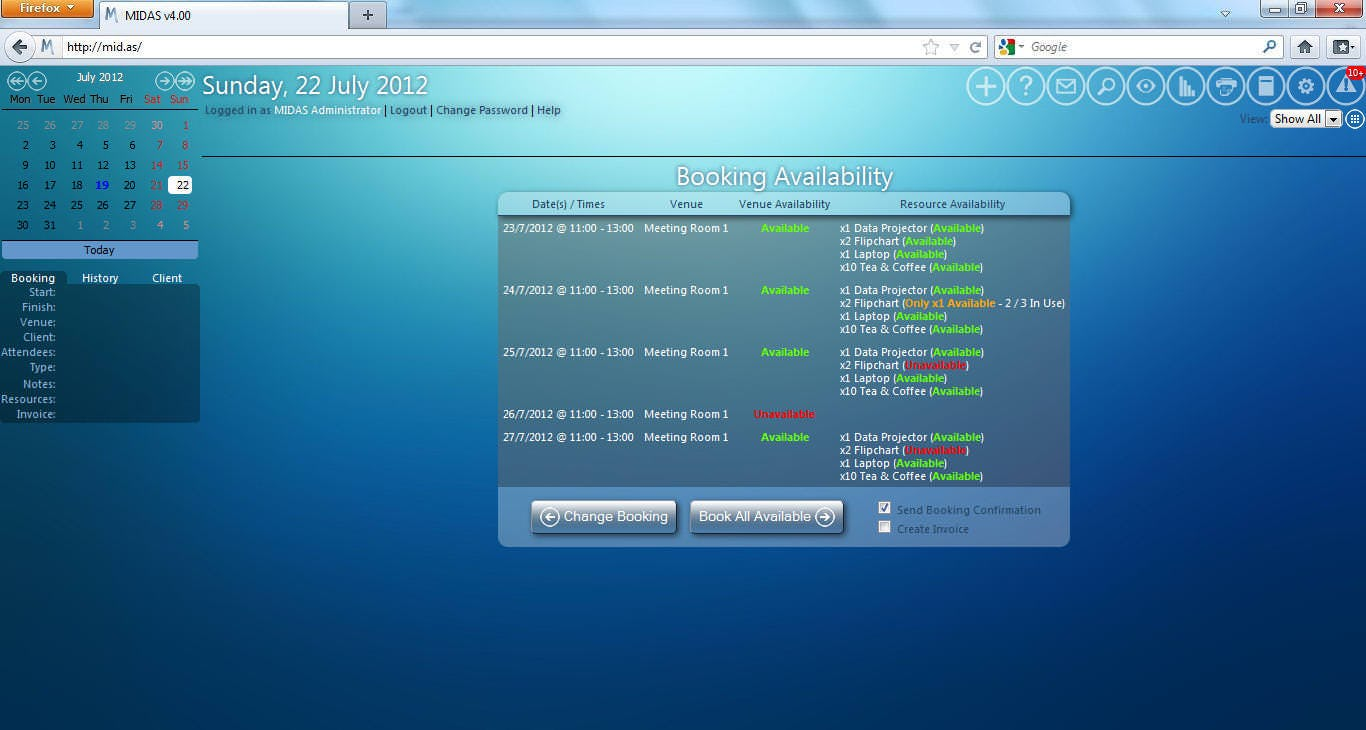 MIDAS Software - Booking availability