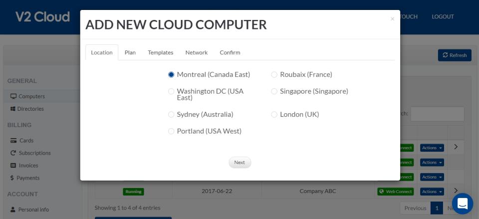 V2 Cloud add new cloud computers