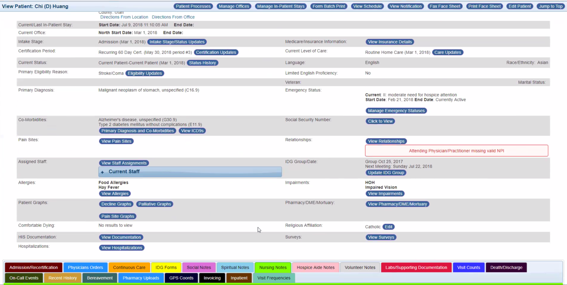 Comprehensive patient record with easy access to key information