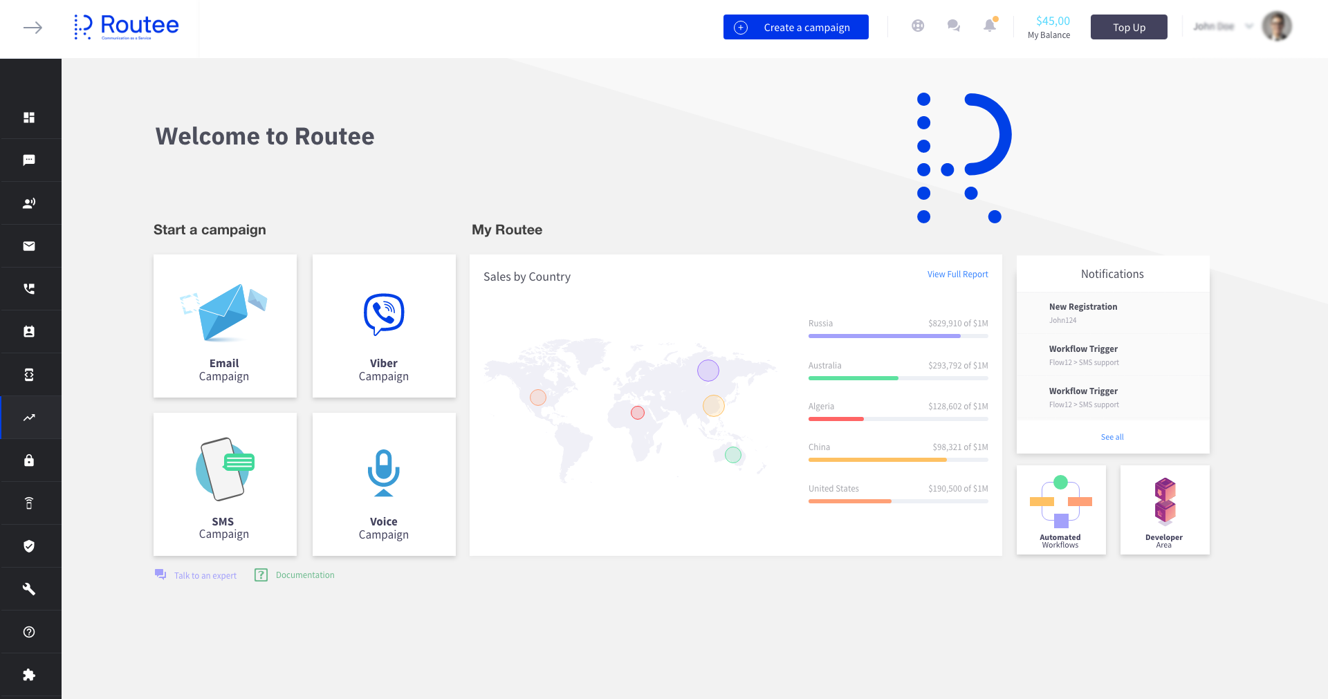 ROUTEE Software - Routee dashboard