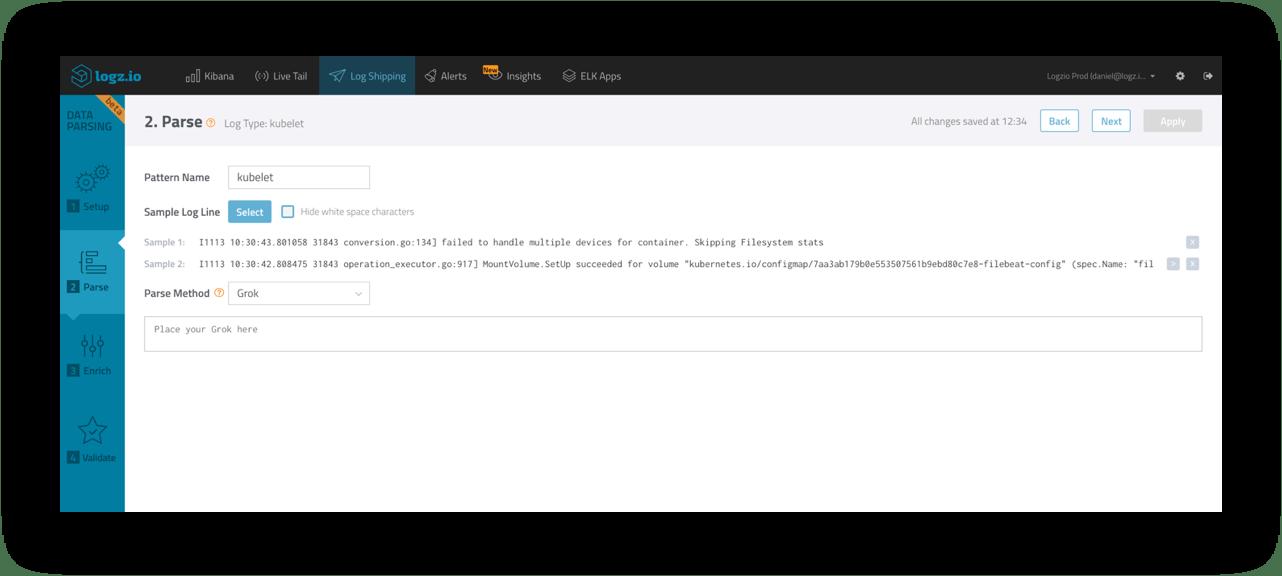 Logz.io Software - Automatic parsing