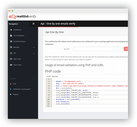 API provides functionality to verify emails