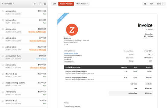 Zoho Books Software - Zoho Books Invoice management