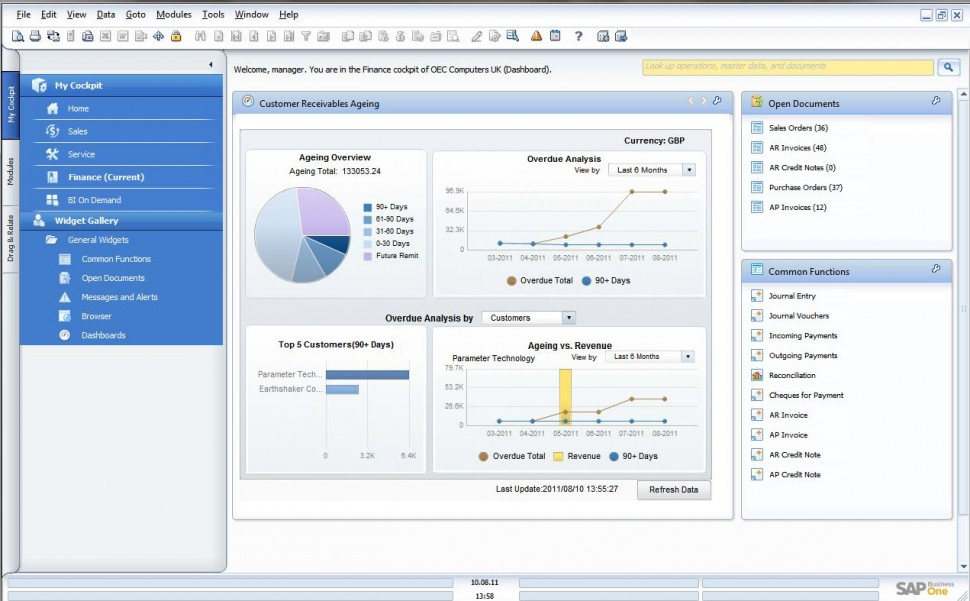 SAP Business One widget gallery