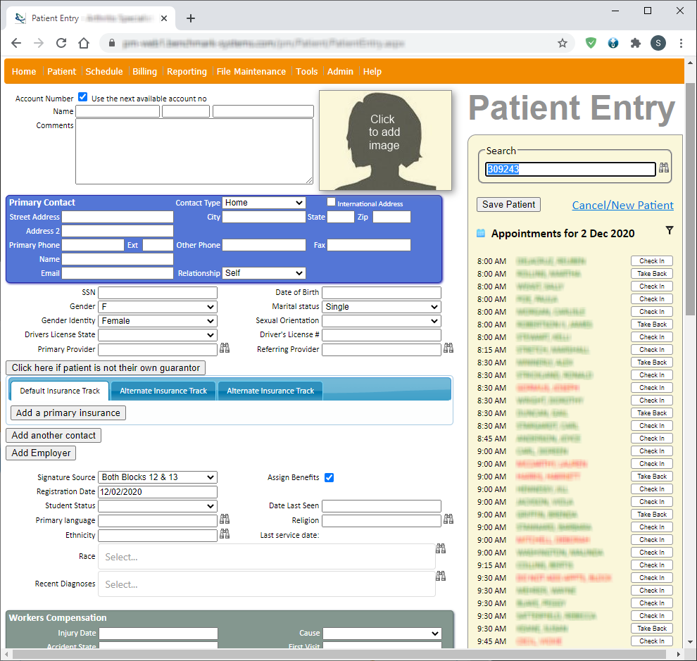 Benchmark PM Patient Entry